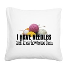Knitting Needles Square Canvas Pillow