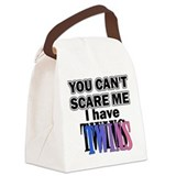 scaretwinspinkblue.... Canvas Lunch Bag
