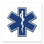 "EMS EMT Rescue Logo Square Car Magnet 3"" x 3&"