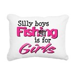 Silly boys, fishing is for girls! Rectangular Canv