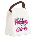 Silly boys, fishing is for girls! Canvas Lunch Bag