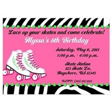 Skate Party Birthday Invitation 5x7 Flat Cards