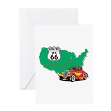 Route 66 With Red Hot Rod Greeting Card