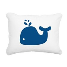 Navy Blue Silhouette Whale Rectangular Canvas Pill
