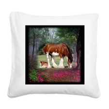 Clydesdale Mare and Foal Square Canvas Pillow