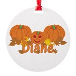 Halloween Pumpkin Diane Round Ornament