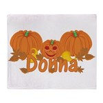 Halloween Pumpkin Donna Throw Blanket