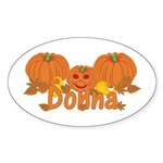 Halloween Pumpkin Donna Sticker (Oval)