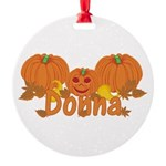 Halloween Pumpkin Donna Round Ornament
