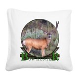 bow hunter, trophy buck. Square Canvas Pillow