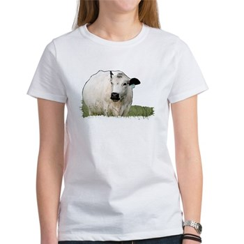 British White cow at Pasture - #3 Women's T-Shirt
