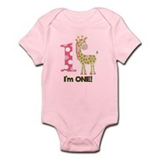 Im One Pink Giraffe Infant Bodysuit