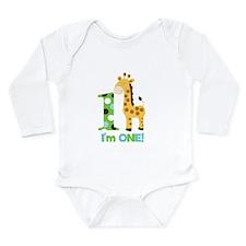 Giraffe Im One First Birthday Long Sleeve Infant B