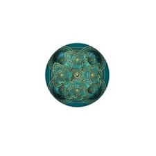Teal Celtic Tapestry Mini Button