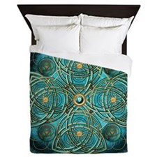 Teal Celtic Tapestry Queen Duvet