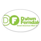 Downtown Ferndale Lime Green Logo Decal