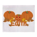 Halloween Pumpkin Edith Throw Blanket