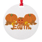 Halloween Pumpkin Edith Round Ornament