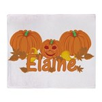 Halloween Pumpkin Elaine Throw Blanket
