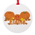 Halloween Pumpkin Elaine Round Ornament