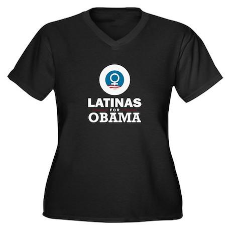 Latinas for Obama Women's Plus Size V-Neck Dark T-