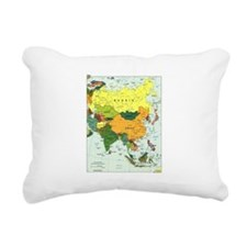 Asia Map Rectangular Canvas Pillow