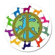 Dog Peace Round Car Magnet