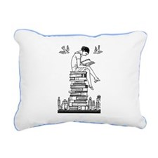 Girl reading atop books Rectangular Canvas Pillow