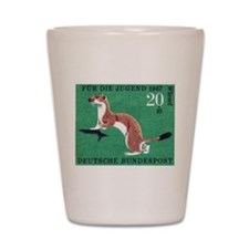 Weasel 1967 German Postage Stamp Shot Glass