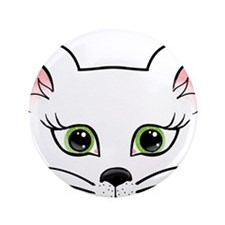 "White Cat 3.5"" Button"
