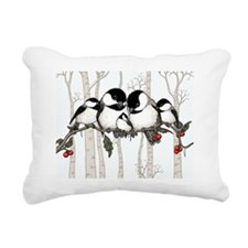 Chickadee Family Rectangular Canvas Pillow