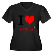 I love YouTube Women's Plus Size V-Neck Dark T-Shi