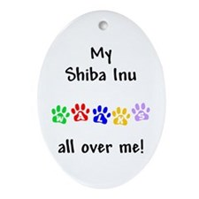 Shiba Inu Walks Oval Ornament