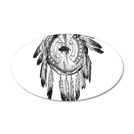 Native American Ornament 20x12 Oval Wall Decal
