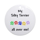 Silky Terrier Walks Ornament (Round)