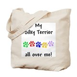 Silky Terrier Walks Tote Bag