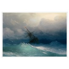 Aivazovsky - Ship on Stormy Seas Wall Art
