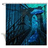 Bridge and Sharks Shower Curtain