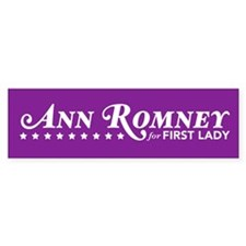 Ann Romney For First Lady (Purple) Bumper Sticker