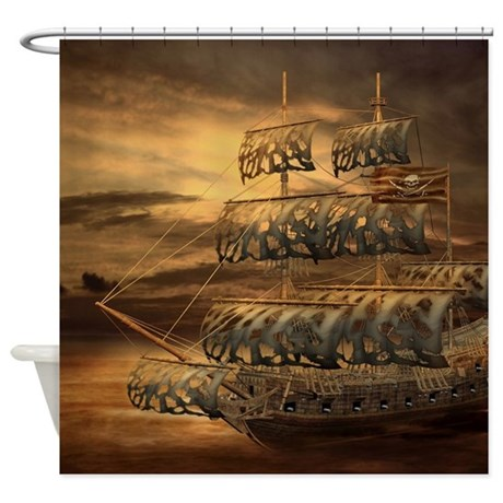 Awesome gifts gt awesome bathroom d 233 cor gt pirate ship shower curtain