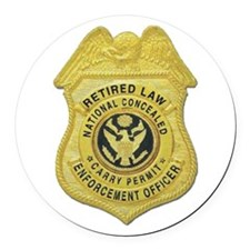 retired law enf officer.png Round Car Magnet
