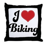 I Love Biking Throw Pillow