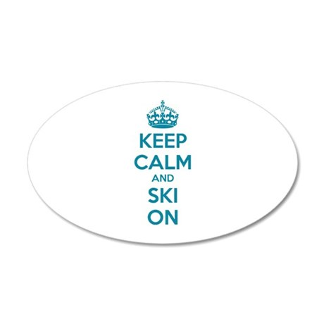 Keep calm and ski on 38.5 x 24.5 Oval Wall Peel