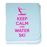 Keep calm and water ski baby blanket