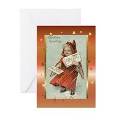 Vintage Girl with cape Greeting Card