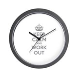 Keep calm and work out Wall Clock