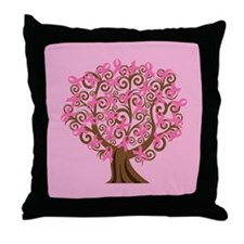 Breast Cancer Pink Ribbon Tree Gift Throw Pillow