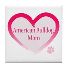 American Bulldog Mom Pink Heart Tile Coaster