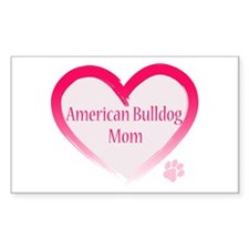 American Bulldog Mom Pink Heart Decal