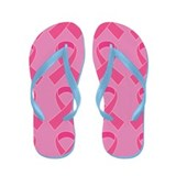 Pink Ribbon Breast Cancer Support Flip Flops